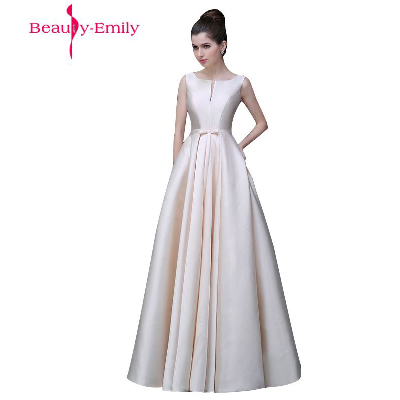 2019 Beauty-Emily Long Cheap Stain Pink Black   Evening     Dresses   Boat Neck Floor-Length A-Line Lace Up Prom   Dress   Party Occasion