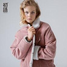 Toyouth Autumn Winter Corduroy Basic Jacket Lambswool Bomber Women Long Sleeve Casual Single Breasted Denim