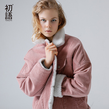 Toyouth sonbahar kış kadife temel ceket Lambswool bombacı ceket kadın uzun kollu ceket rahat tek göğüslü Denim ceket
