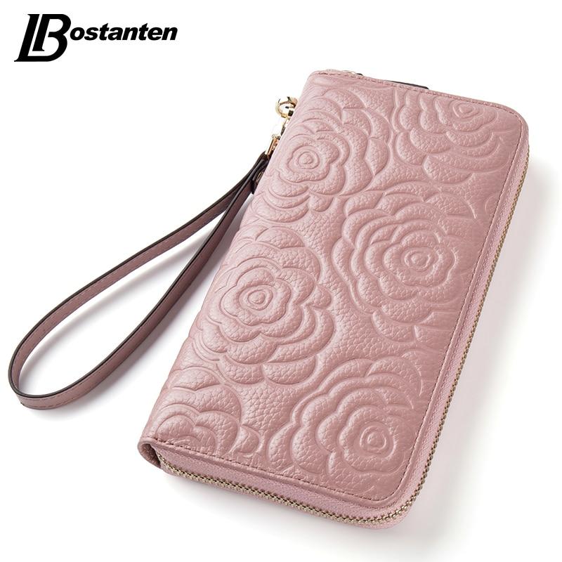 Blue Stones Women Long Wallets Embossed Floral Clutches Purse Female Card Holder Wallet Luxury Zipper Clutch Purses
