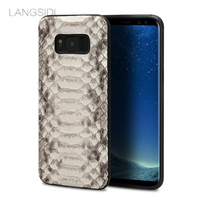 LANGSIDI brand cell phone case natural python skin cover phone case For Samsung Galaxy S8 cell phone cover all handmade custom