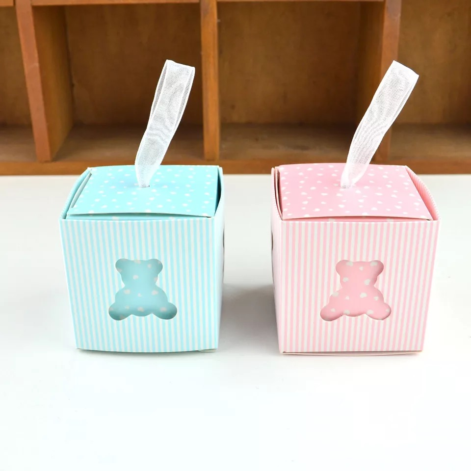 100 Pcs New Creative birthday Party Favor Sky Blue Yellow Pink bear Candy Box Baby shower