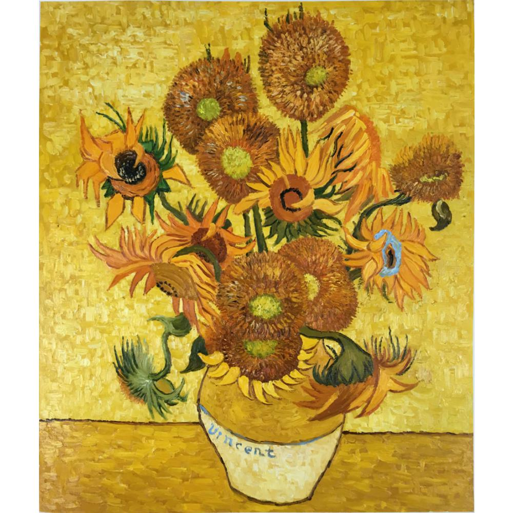 art Oil paintings,Still Life - Vase with Fifteen Sunflowers-Vincent Van Gogh reproduction,Handmade,High quality