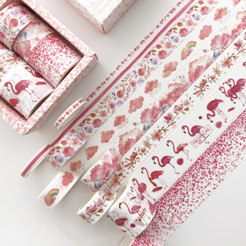 8 Pcs/pack Red Flamingo Cherry Sakura Bullet Journal Washi Tape Set Adhesive Tape DIY Scrapbooking Sticker Label Masking
