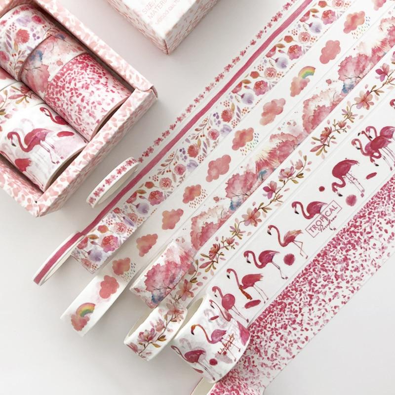 8 Pcs/pack Red Flamingo Cherry Sakura Bullet Journal Washi Tape Set Adhesive Tape DIY Scrapbooking Sticker Label Masking
