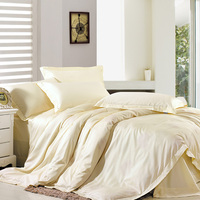 Quality 1200 Long Staple Cotton Solid Color Satin Bedding Sheets Fitted Four Piece Set