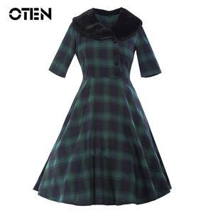 e522652e68f OTEN Women Vintage Red Green printed tunic party dress