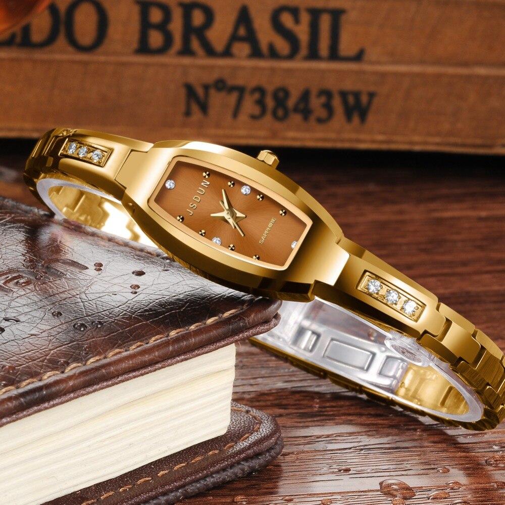 JSDUN Top Luxury Brand Fashion Diamond Gold Tungsten Steel Quartz Ladies Watch 30 M Waterproof  Watch Women Relogio Feminino2018