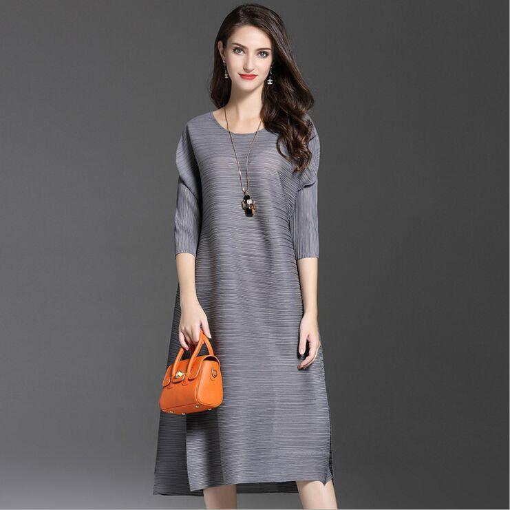 High-end mode sorte kvinders kjoler Miyak plisserede 3/4 ærmer - Dametøj - Foto 6