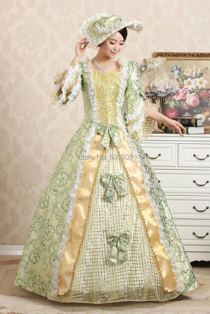 green medieval with hat Renaissance Gown queen dress Costume Victorian  Gothic Marie Antoinette civil 9a58caf9d7a