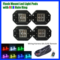 4PCS 5 24W FLUSH MOUNT Pods LED Work Light Spot / Flood with RGB Halo Ring Multicolor Change Strobe & Wiring Harness RF Remote