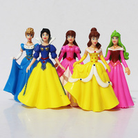 5pcs/set Princess Snow White Belle Cinderella Aurora PVC Action Figure Snow White Doll Educational Toys
