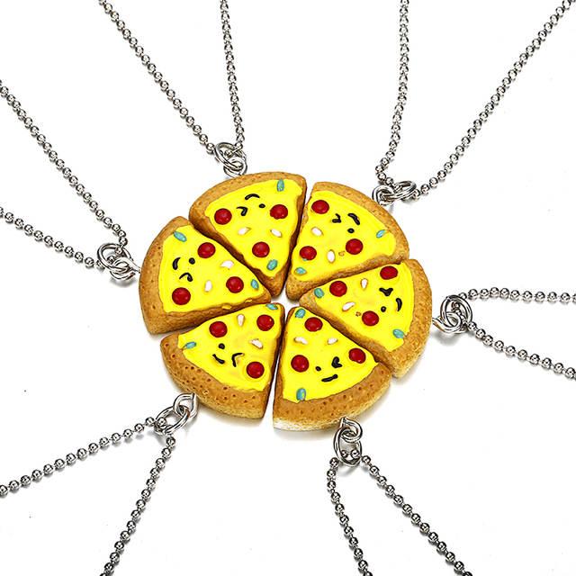 9a06623cfa2a € 2.85 21% de DESCUENTO|Mejores amigos para siempre collar 6 unids en 1  Unidades Pizza collar o llavero Bff amistad Mejores Regalos para amigos en  ...