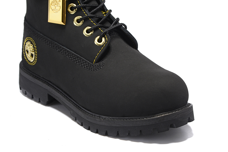 TIMBERLAND Men All Black Gold Metal Ankle Martin Motorcycle Boots,Man high-top Leather Spring Wearable Casual Walk Shoes 40-45 5