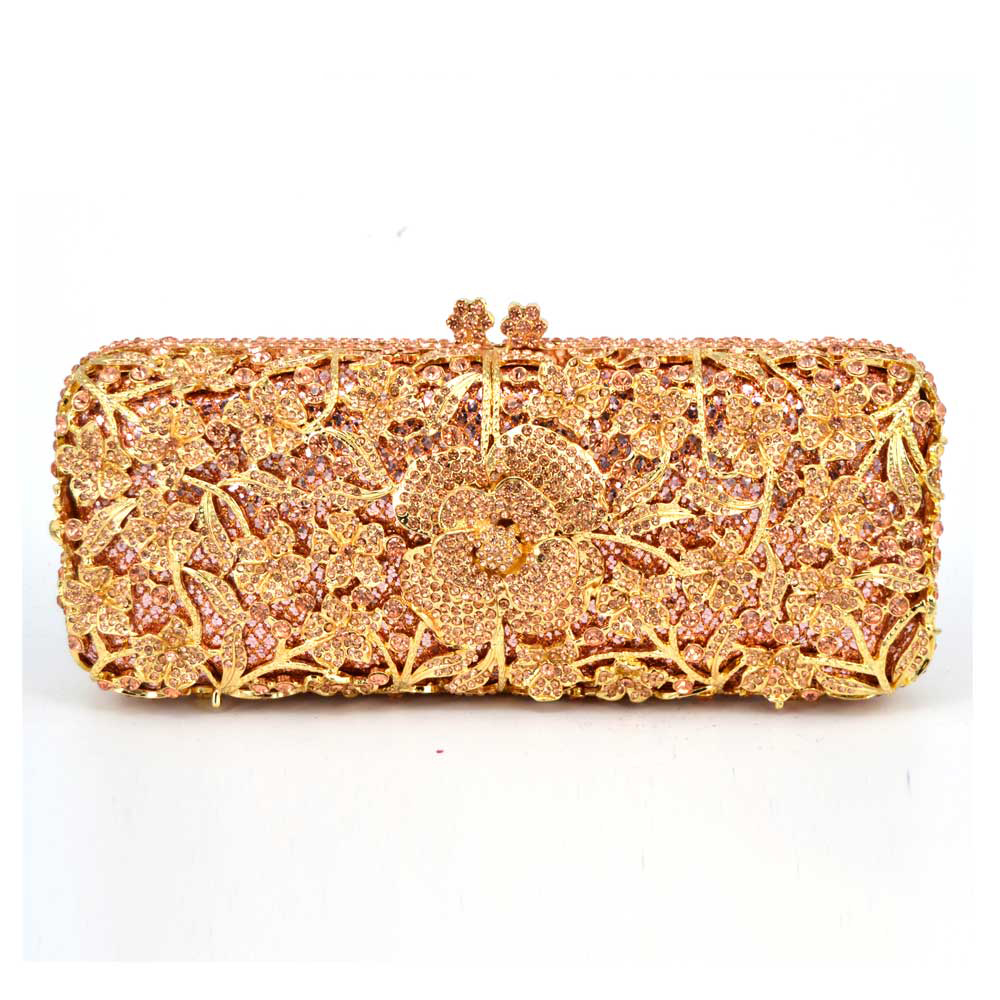Luxury Crystal Evenings Bags Hollow Out Floral Appliques Metal Clutches Bridal Gold Wedding Handbags Cocktail Clutch Purse 88278 golden stones women evening clutch bags brand hollow out diamond crystal bridal wedding handbags metal clutches shoulder purse