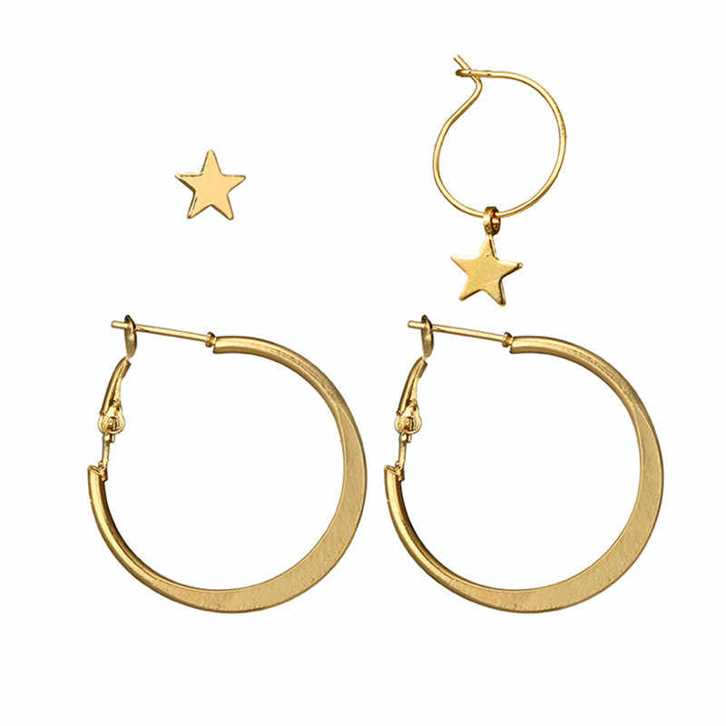 Fashion Retro Women Earrings Ladie 1 Set 4pcs High Quality Simple Circle Word Earring Female Star Modern Jewelry 2020 Hot Sale