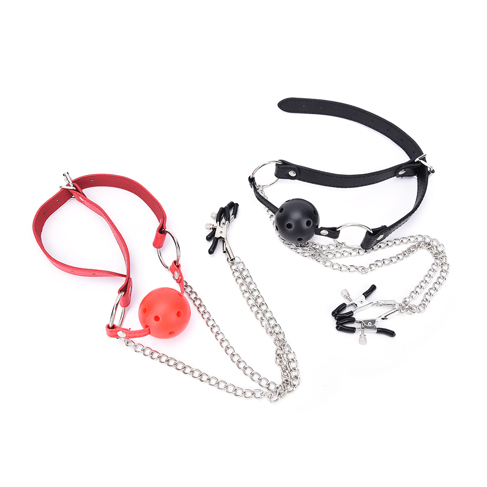 Buy PU Leather Silicone Ball Mouth Gag Ball Oral Sex Breast Nipple Clamps Chain Clips Bdsm Fetish Bondage Harness
