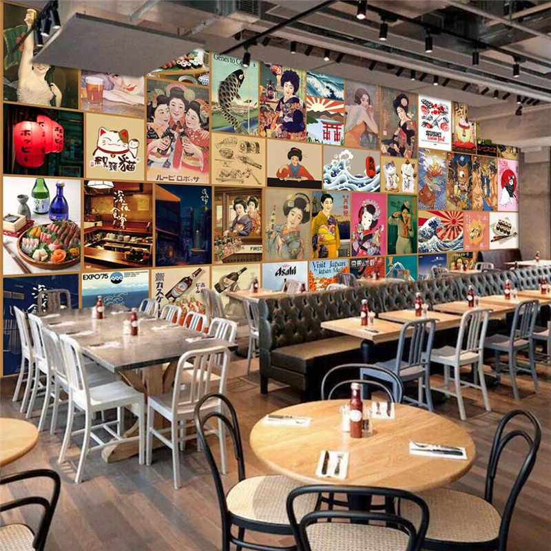Authentic Japanese sushi cuisine background wall professional production mural wholesale wallpaper custom photo wall in Fabric Textile Wallcoverings from Home Improvement