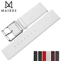 MAIKES Genuine Leather CK Watch Strap Soft Thin White Watch Bands For Calvin Klein Watch Band Replacement Bracelet Watchbands