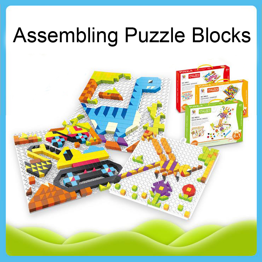 DOLLRYGA Assembling Building Bricks Puzzle 420pcs/set Kids Craft Plastic Puzzle Jigsaw Toys For Children Cartoon Animal Pegboard