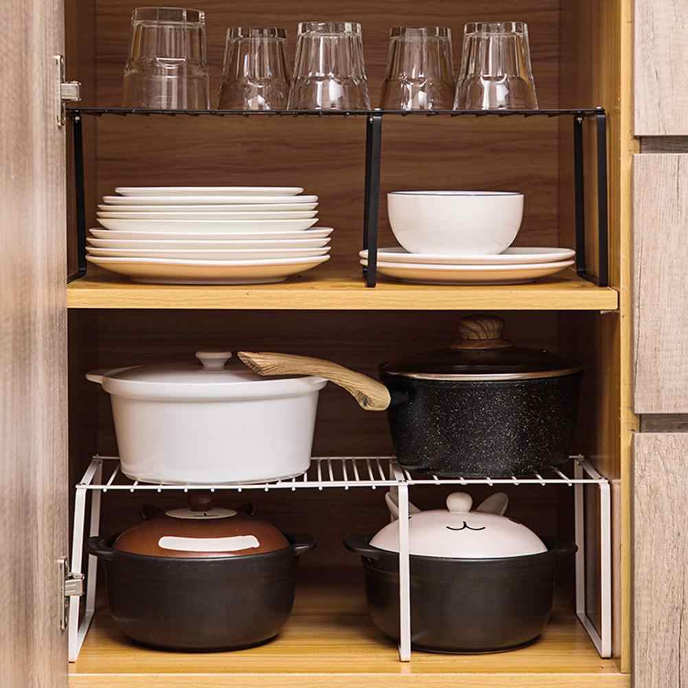 Retractable Kitchen Storage Rack Bowl Pan Rack Cabinet Shelf Expandable  Kitchen Counter Organizer Iron Rack For Home Tableware