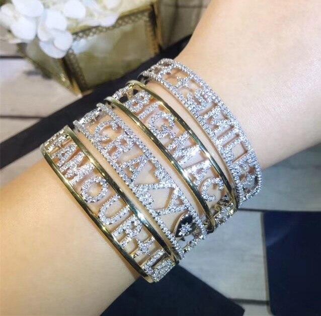 New Fashion cubic zirconia wide letter AMORE AMOUR LOVE BIG MAC SMILE CRAZY bracelet thick cuff monaco bangle women bijoux