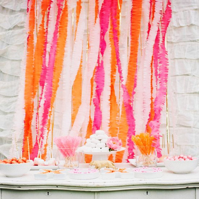 Sunbeauty 14 Colors Colorful Crepe Paper Decoration Party Tissue Curtains Hanging Banner For Wedding Festival