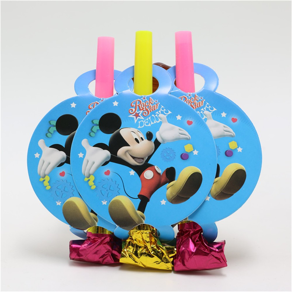 6pc/set mickey mouse Birthday Party Blowout Paper Whistle Trumpt Boy Girls Blowout Event Party Supplies for Baby Kids Favors
