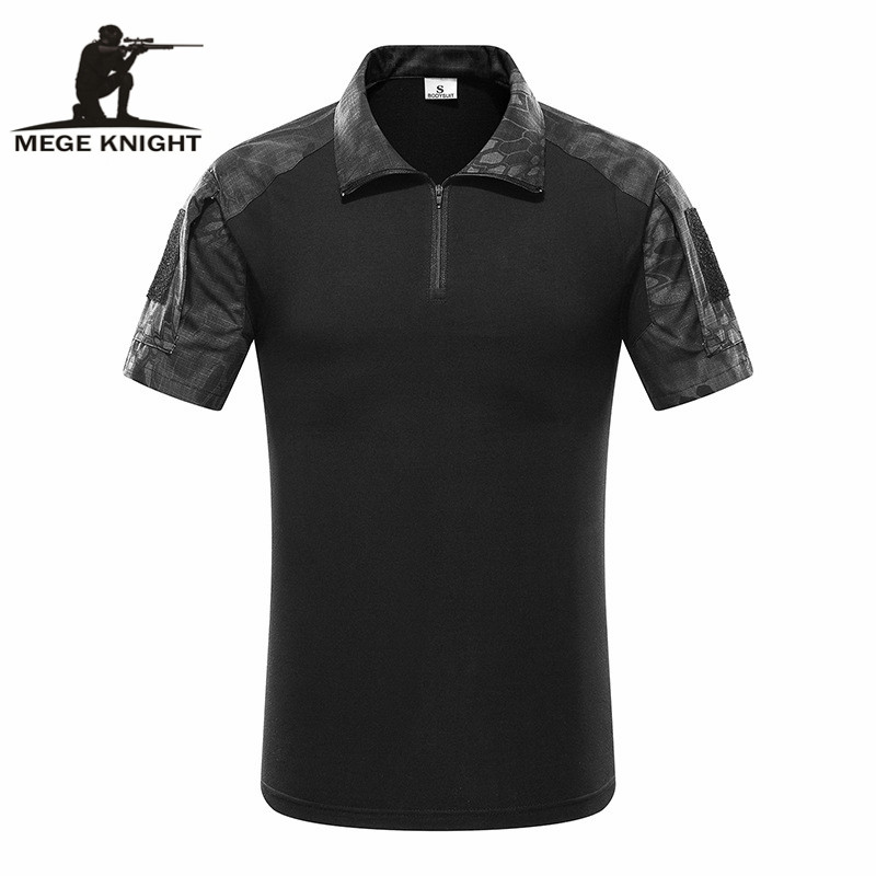 MEGE Tactical Camouflage Men Army Combat POLO Shirt, Rapid Assault ACU MultiCam Mens' Tops & Tees,  Airsoft Paintball Polo