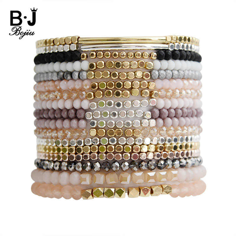 BOJIU Multicolor Crystal Strand Bracelets For Women Gold Acrylic Copper Beads Pink White Black Gray Crystal Bracelet Femme BC226