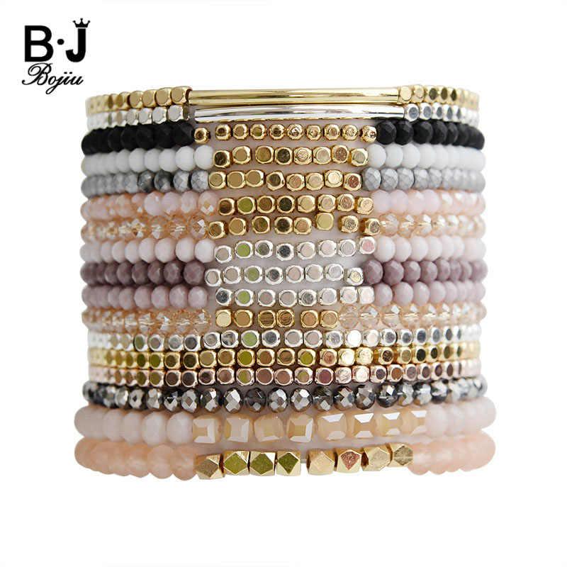 BOJIU Multicolor Kristall Strang Armbänder Für Frauen Gold Acryl Kupfer Perlen Rosa Weiß Schwarz Grau Kristall Armband Femme BC226