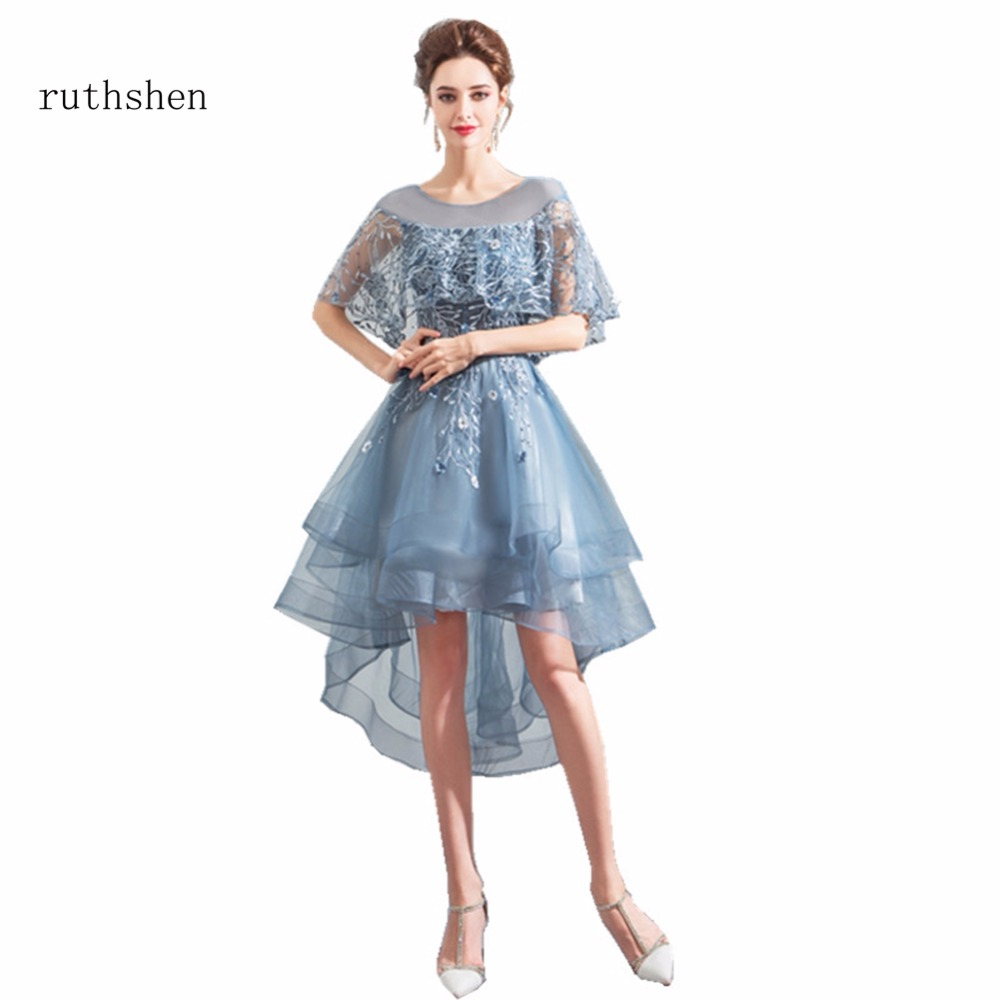 ruthshen 2018 Cap Sleeves Appliques Sexy   Prom     Dresses   Tea Length Formal High Low Party   Dress   Cheap Graduation   Dress   For Events