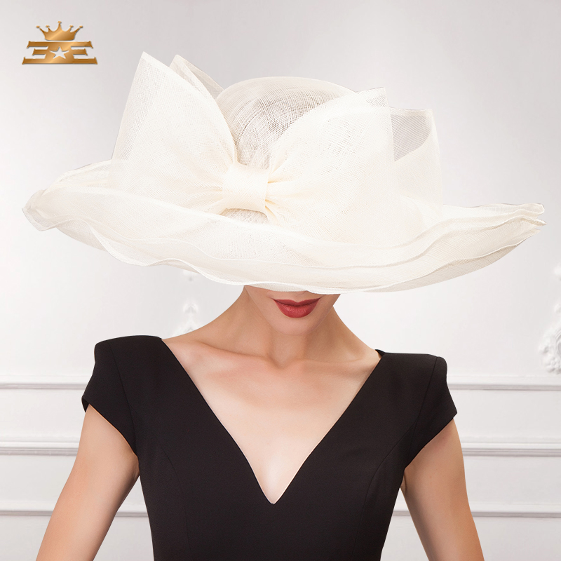 Elegant Black Beige White Linen Wedding Hats Ladies Bowknot Large Wide Brim Chapeau Fedora Sinamay Womens