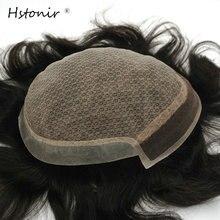Hstonir Saf El Yapımı Erkek Peruk Ipek Taban İsviçre Dantel Ince Deri Erkekler Remy Saç Sistemleri H032