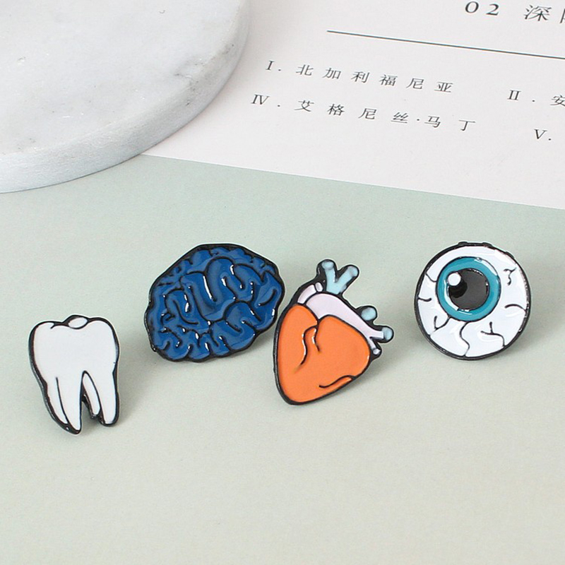 Новое поступление 2017 года человека Органы сердце зубы мозг глаз мини сплава ювелирные броши для Для женщин подарок Мода Брошь Pin Оптовая про...