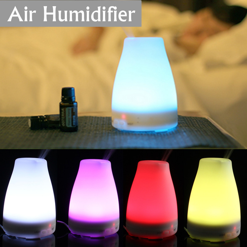 100ML LED Light 7 Color Change Dry Protect Ultrasonic Essential Oil Aroma Diffuser Air Humidifier Mist Maker for Home Office ultrasonic air humidifier essential oil diffuser led light aromatherapy 7 color change electric aroma diffuser for home office