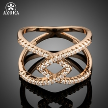 AZORA Design Luxury CZ Stone Cross Ring for Women Jewelry Party Accesorios Trendy Cocktail Ring Bijoux Bague Femme Gift TR0170