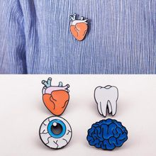 Wholesale 2017 Hot Cartoon Cute Brain Heart Eye Tooth Metal Brooch Pins Button Pins Girl Gift(China)