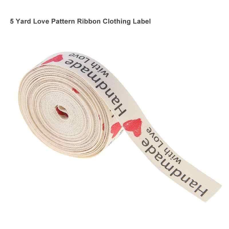 5 야드 손으로 만든 레이블 태그 사랑 패턴 의류 레이블 리본 의류 DIY 헝겊 공예 Bowknot 청바지 가방 신발 바느질 키트