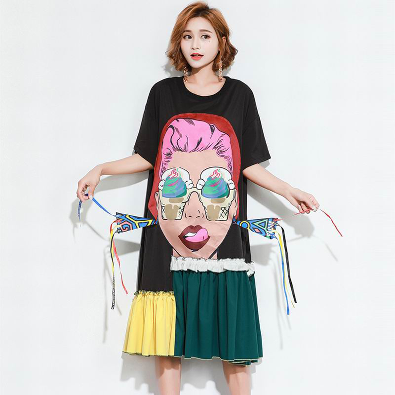 504bf2e3104 2018 Summer Cartoon Girl Eye Ice cream Print Asymmetrical Tops Hit Color  Tassel Irregular T Shirt Loose Plus Size Woman T-Shirts