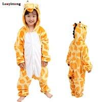 New Children Animal Pajamas Flannel Giraffe Unicorn Panda Cartoon Hooded Winter Kids Pyjamas Homewear For Girls