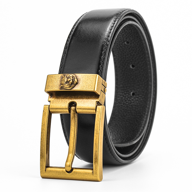 IMSTEN Men's Leather Belt, Double G Bronze Tiger Head Buckle Belt Lady's Decoration.