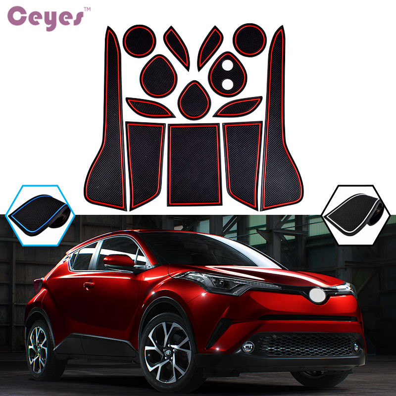 Ceyes Car Styling Case For Toyota C-HR 2016 2017 2018 C HR Gate Slot Pad Auto CHR Interior Accessories Car-Styling Car Stickers