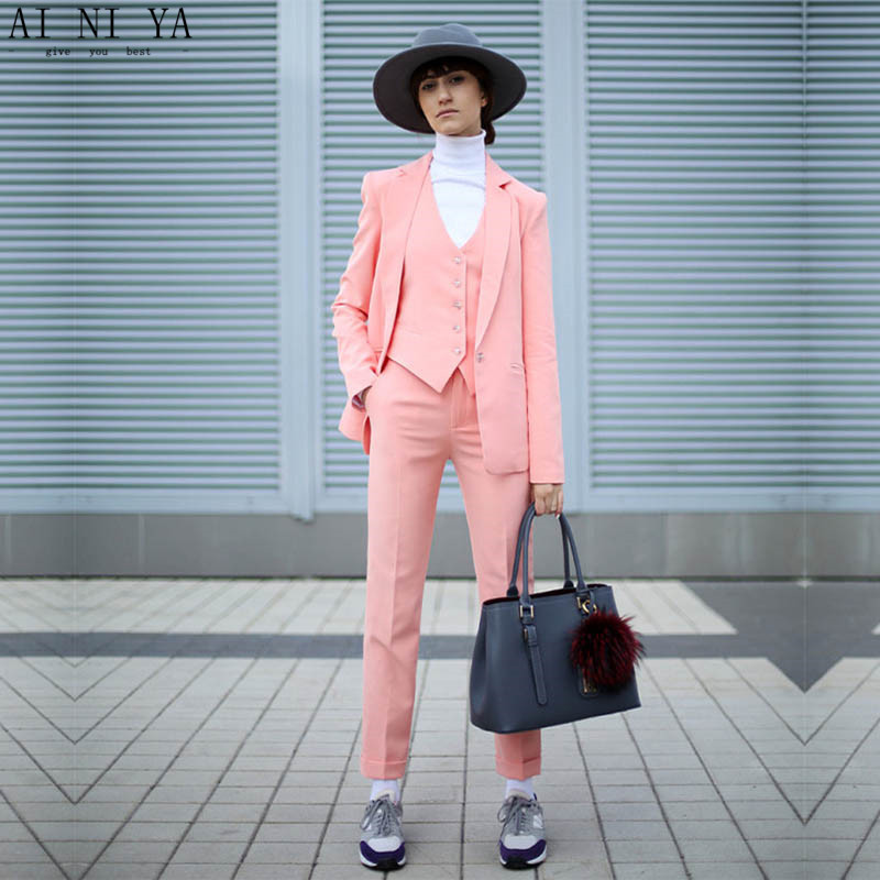 NEW Pink 3 piece set womens business suits ladies office suits women tuxedo female trouser suit fromal ladies Wedding suits