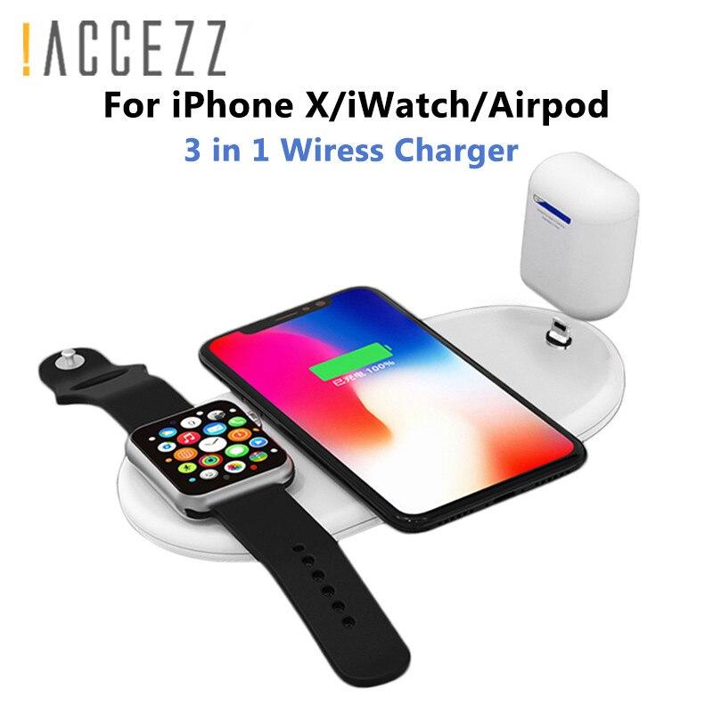 ¡! ACCEZZ 10 W 7,5 QI rápido cargador inalámbrico 3 en 1 para iphone 8 X XS para los AirPods para Samsung s7 S8 S9 Universal cargadores de teléfono