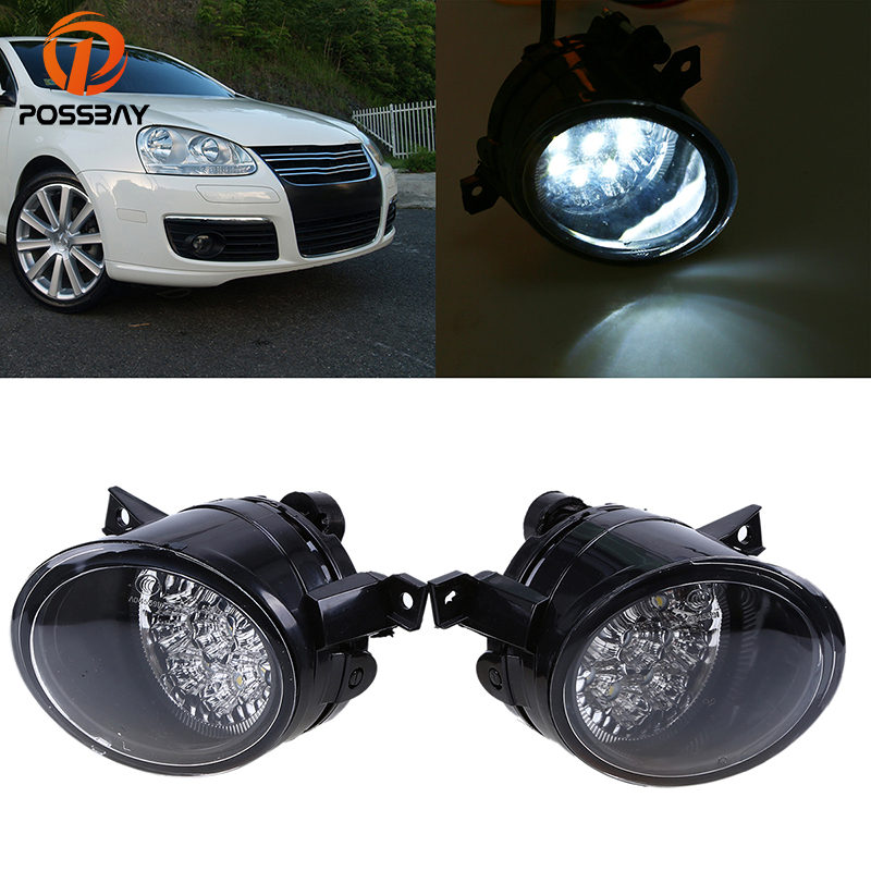 POSSBAY Car Fog Light Assembly LED Daytime Running Light for 2004-2010 VW Jetta/Bora/Golf Mk5 9LEDs White Foglamps white fog light grille foglamps grill cover for vw golf rabbit mk5 2003 2009 with hardness switch h3 bulbs p98