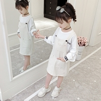 Girl Suits Spring Children's Sets Cotton Strap Dress Casual Letter Sweatshirts Pullover+Vest Dress Camisole Kids Girls Clothes
