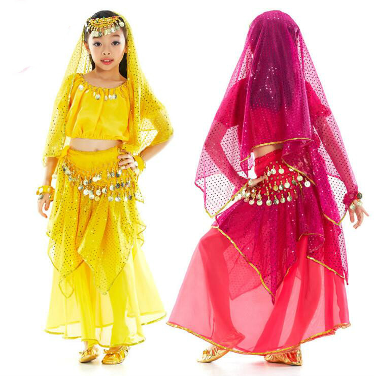 Bellydance Costume for Girls Kids Belly Dance <font><b>Top</b></font>&Dress <font><b>Bollywood</b></font> Dance Costumes Children Indian Dresses Clothes for Dancing image