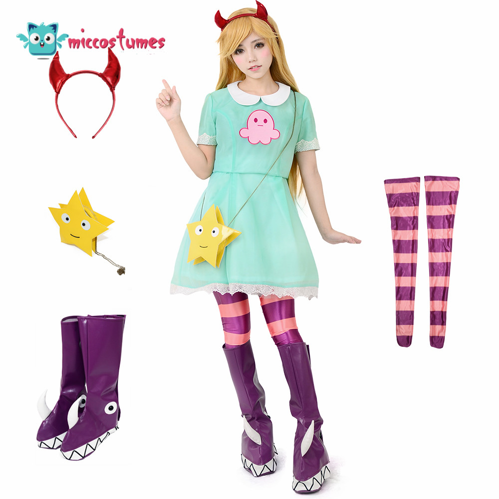 Girl's Princess Star Butterfly Cosplay Costume Green Dress Including Hair Accessory,Star Bag and Shoe Covers 1