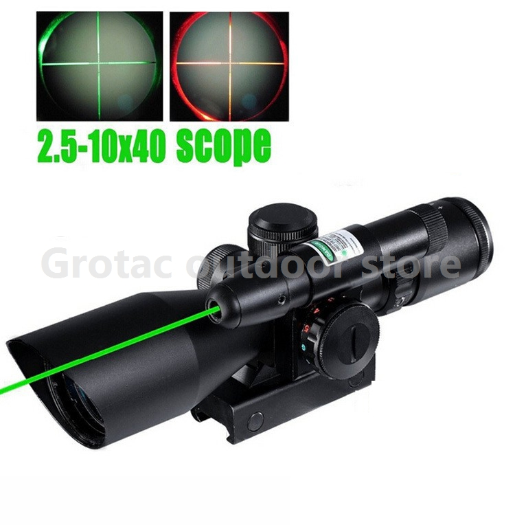 Tactical Compact Laser Riflescope 2.5-10X40 Riflescope Illuminated Tactical Riflescope with Green Laser Hunting Scope hot sale 2 5 10x40 riflescope illuminated tactical riflescope with red laser scope hunting scope page 6